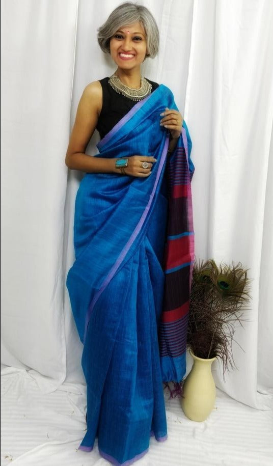 Dark Sky Blue Tussar Silk Saree