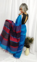 Load image into Gallery viewer, Dark Sky Blue Tussar Silk Saree