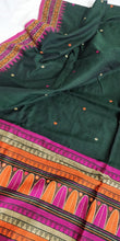 Load image into Gallery viewer, Dark Green Dongria Cotton Saree