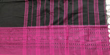 Load image into Gallery viewer, black mustard pink cotton saree handloom office wear ethnic wear