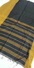 Load image into Gallery viewer, black mustard cotton saree handloom office wear ethnic wear
