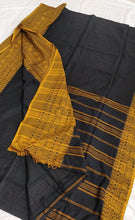 Load image into Gallery viewer, Black Mustard Begumpuri Cotton Saree