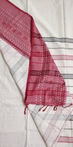White Red Begumpuri Cotton Saree