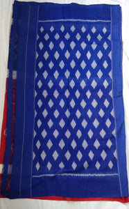 Cottonsaree Madeinindia Chanchal Bringing Art to Life Handloom Blue and Red Saree Ethnicwear Officewear