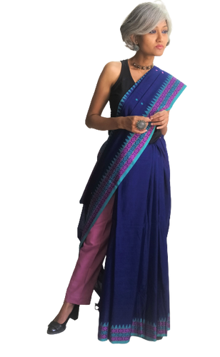 Blue Dongria Cotton Saree