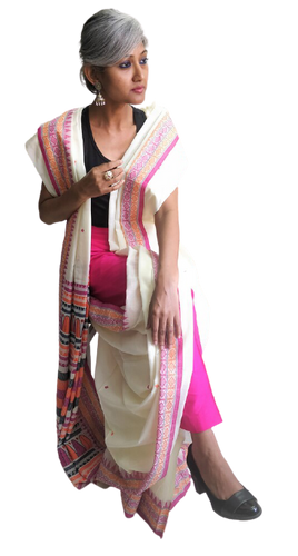 Cream Pink Dongria Cotton Saree