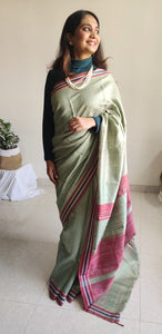 Pista green saree tussar silk saree office wear ethnic wear