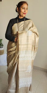 Natural Beige saree tussar silk saree bell shaped woven pallu  office wear ethnic wear