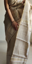 Load image into Gallery viewer, Natural Beige saree tussar silk saree striped pallu office wear ethnic wear