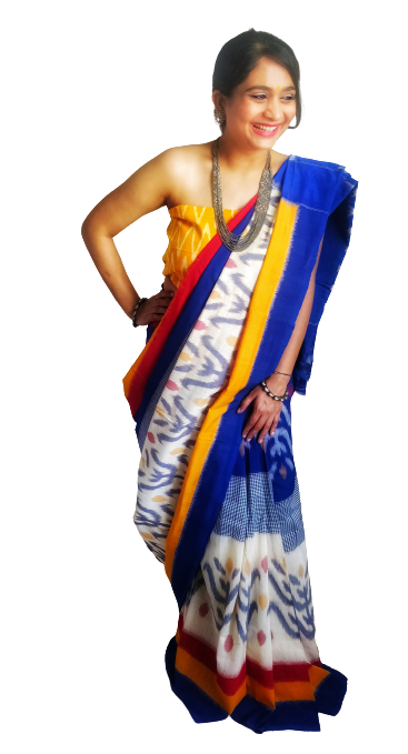 Blue White Mustard Ikat Cotton Saree