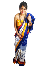 Load image into Gallery viewer, Blue White Mustard Ikat Cotton Saree