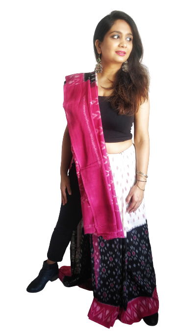 White, Black and Pink Ikat Cotton Saree