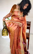 Load image into Gallery viewer, Rust Gold Tussar Silk Saree