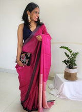 Load image into Gallery viewer, Fuschia pink saree tussar silk saree office wear ethnic wear