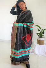 Load image into Gallery viewer, Black and Green saree tussar silk saree office wear ethnic wear
