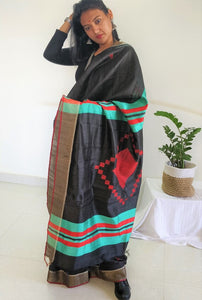 Black and Green saree tussar silk saree office wear ethnic wear