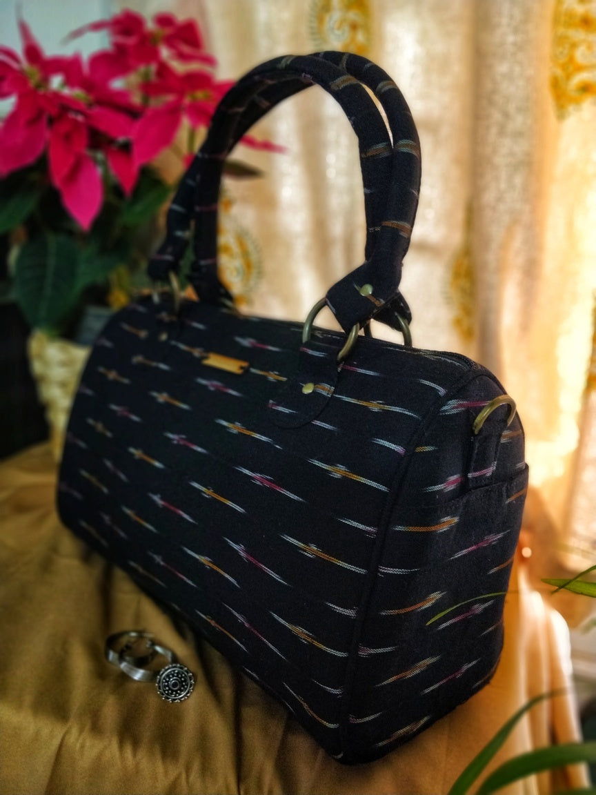 Black Ikat Ikkat Duffle Duffel handbag sling bag tote office purse ladies women girls fashion pockets handloom vegan Made in India Chanchal Bringing Art to Life