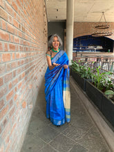 Load image into Gallery viewer, Blue Check Tussar Silk Saree