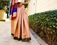 Load image into Gallery viewer, Bhagalpuri Silk Saree Peach Blue handwoven texture Indian sari 6yards Chanchal handmade deisgner