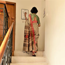 Load image into Gallery viewer, Silk Bhagalpuri Saree Natural brown Golden Chanchal Handmade handwoven slow fashion style Indian designer Chanchal textile