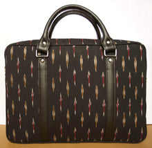 Load image into Gallery viewer, Black Ikat Ikkat Laptop bag office men women handcrafted vegan leather