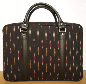 Black Ikat Ikkat Laptop bag office men women handcrafted vegan leather