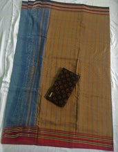 Load image into Gallery viewer, Indigo cotton handloom saree handmade handwoven India Karnataka weaves chanchal support weavers