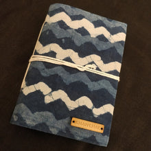 Load image into Gallery viewer, Indigo Waves Blockprint Journal