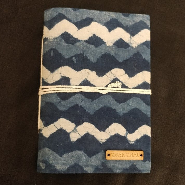 Indigo Waves Blockprint Journal