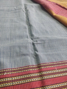 Indigo Gomi Teni Cotton Handloom saree  Karnataka handwoven revival NGO Made In India Chanchal Summer Wear