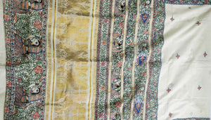 Kerala Kasavu Cotton Saree with Madhubani with Figurines Motifs