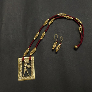 Maroon Dokra jewelry brass handcrafted Artisan Made India Chanchal Sustainable Ethical design new festival contemporary neckpiece necklace