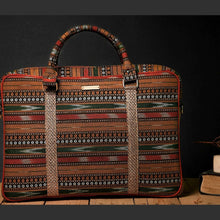 Load image into Gallery viewer, Chanchal Ikat Laptop bag Handcrafted premium ethical vegan jute handcrafted