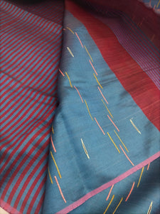 Pink Blue silk saree tussar bhagalpuri embroidery pallu Indian wear ethnic Chanchal women fashion girls festival