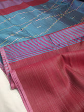 Load image into Gallery viewer, Pink Blue silk saree tussar bhagalpuri embroidery pallu Indian wear ethnic Chanchal women fashion girls festival