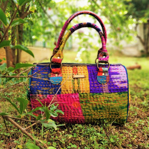 Chanchal Multicolor Majenta Silk Duffle Bag kantha handmade Fashion