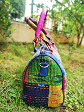 Load image into Gallery viewer, Chanchal Multicolor Majenta Silk Duffle Bag kantha handmade Fashion