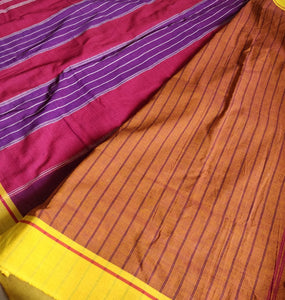 Purple Patteda Anchu Cotton Handloom Saree Purple Handwoven Karnataka Chanchal Made in India brand weave