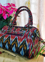 Load image into Gallery viewer, Red Ikat Duffle Bag