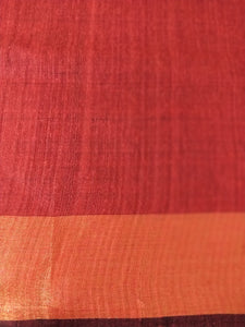 Red Gold Saree Laal Silk Tussar Sari Indian wear chanchal handloom bhagalpuri Bihar