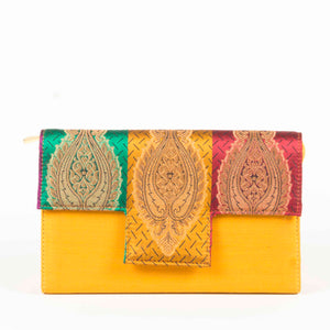 Mustard Silk Clutch Chanchal Handmade Sustainable Fashion Brands in Bangalore