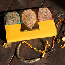 Load image into Gallery viewer, Mustard Silk Clutch Chanchal Handmade Sustainable Fashion Brands in Bangalore