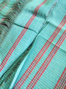 Sky Blue Patteda Anchu Cotton Saree