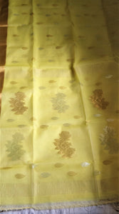 Yellow muslin silk saree India Chanchal Designer Sari Handloom West Bengal weavers Durga Puja Diwali Festival Collection