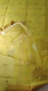 Light Yellow and Zari Muslin Silk Saree