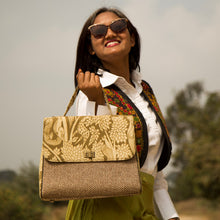 Load image into Gallery viewer, Kalamkari Green Jute Handbag