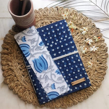 Load image into Gallery viewer, writing diary aesthetic printed diary journal pretty journal chanchal handloom online stationary student officegoers travel diary writer blogs soulful writing pads printing pads flower print sanganeri print journals block print journals white blue indigo blue horizontal strip notebook handmade handcrafted