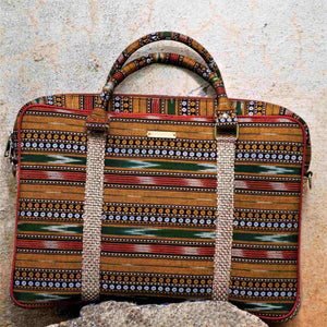 Ikat Brown Laptop Bag Chanchal