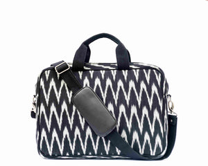 Ikat Black Grey Laptop Bag Chanchal