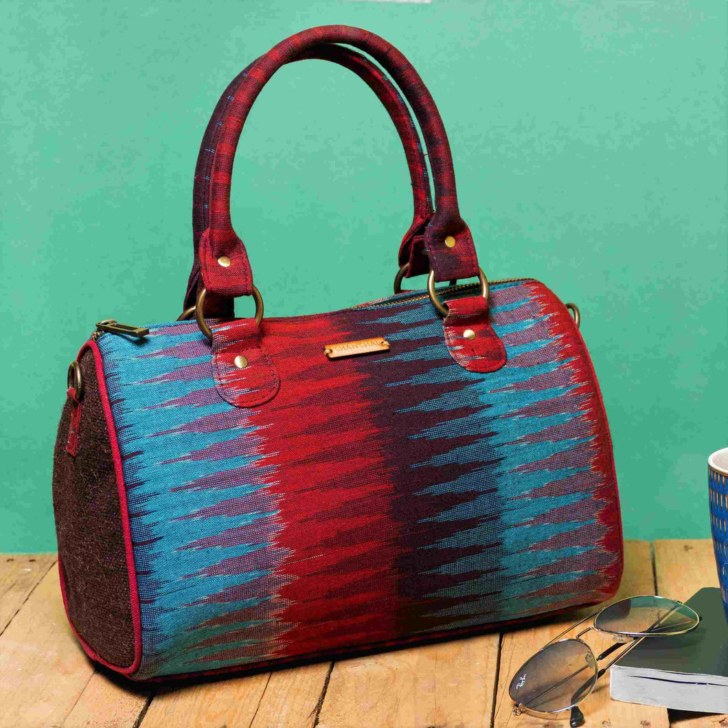 Ikat Blue Red Duffle Bag Chanchal